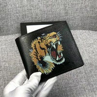 Wholesale bee coin - 5A Quality Men Wallet cowhide Leather Fashion Tiger bee snake short Wallet Purse Arteira Masculina Short Coin Pocket with box