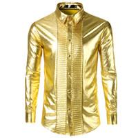 langarm glänzendes gold kleid großhandel-Glänzendes Gold Metallic Shirt Männer 2018 Mode Nachtclub Bühne Herrenhemden Casual Slim Fit Langarm Chemise Homme