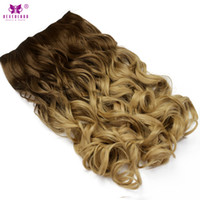Wholesale heat resistant synthetic hair extension - Neverland 24Inch Women Wavy Hair Synthetic Heat Resistant One Piece Clip in Hair Extensions Hairpiece Chocolate Brown to Blonde