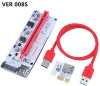 Wholesale extender 1x resale online - VER S VER008S Molex Pin SATA PIN PIN PCIE PCI E PCI Express Riser Card With LED X to X USB Extender BTC Miner LLFA