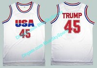 Wholesale xxl mens tank top - Mens Trump USA 45 Moive Basketball Jerseys White Tank Top Donald #45 Stitched Free Shipping Size S-2XL