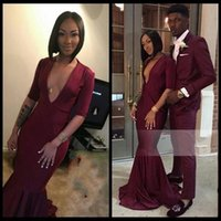Wholesale Sexy Long Jersey Dresses - 2018 Long Burgundy Prom Dresses Deep V Neck Half Sleeves Jersey Floor Length Black Girls Mermaid African Evening Gowns Party Dress