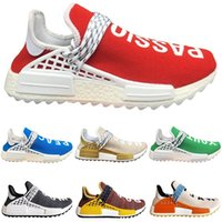 Wholesale womens size 12 boots - 2018 Human Race Trail Mens Womens Running shoes Gold Blue Green Pharrell Williams Hu Yellow Red Nerd Sports Sneakers Size 5.5-12