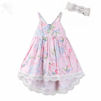 Wholesale western suspenders - Everweekend Kids Girls Lovely Party Lace Ruffles Flowers Tutu Holiday Dress Princess Western Summer Fashion Suspender Dress