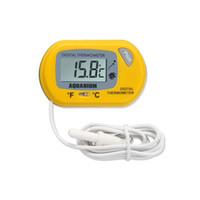 controlador de termómetro digital al por mayor-Sensor de pantalla LCD digital Acuario Termómetro de agua Controlador Accesorios para tanque de peces con cable Acuario Termómetro Accesorios