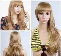 uzun doğal sarışın kıvırcık peruk toptan satış-Ücretsiz kargo + + + Kadın Moda Bayanlar Doğal Kıvırcık Saç Sarışın Uzun Saç Tam Peruk