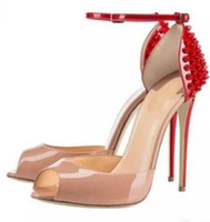 Wholesale Big Bottom Sandals - 2017 New Brand Red Bottom Women Fashion Rivets High Heels Dress Shoes Nude Patent Leather 12cm Heel Open Toes Sandals big size EU 34 to 45
