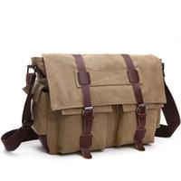 tuval deri dizüstü bilgisayar çantası toptan satış-Moda Çanta Omuz Çantası erkek Bağbozumu Tuval ve Deri Satchel Okul Askeri Omuz Çantası Messenger Dizüstü Laptop Çantaları için