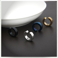 Wholesale earring girls allergy - Anti allergy boys and girls punk black titanium earrings clip without non pierced ears