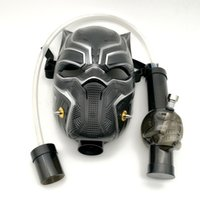 Wholesale black glass art - New Black Panther Creative Acrylic Gas Mask Dab Rig Silicone Pipes with Art Bongs Creative Acrylic Smoking Pipe vs Glass Bong