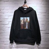 polar panda hoodie toptan satış-2018ss PA Marka Eski Çift Baskılı Kadın Erkek Hoodies Tişörtü Hiphop Streetwear Erkekler Cep Hoodie Kazak Kış Polar
