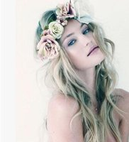 Wholesale headband beauty - Bohemia new fashion flowers brides hair accessories designer colorful beauty seaside tour headband simulation flower head wreath