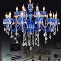 nuevas arañas modernas al por mayor-Nuevos candelabros modernos de cristal azul Luz de techo LED para sala de estar Dormitorio lámpara de interior K9 crystal lustres de teto chandelier
