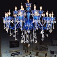 avize ışıkları mavi toptan satış-Yeni Modern Mavi kristal avizeler Oturma odası Yatak Odası için LED tavan ışık kapalı lamba K9 kristal cilalar de teto avize