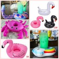 tekne standları toptan satış-Yaz Hayvanlar Şişme Kupası Tutucu İçecek Yüzer Parti Içecek Tekneler Havuzu Plaj Standı Şişme Içecek Tutucusu Unicorn Flamingo