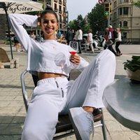 fermuarlı belli tozluklar toptan satış-Hugcitar yüksek bel geniş bacak fermuar gevşek tayt 2018 sonbahar kış kadın yeni moda beyaz katı kadın pantolon