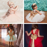 Wholesale ball ballet online - 4 Colors Girls Dress Lace Camisole Sequins Big Bowknot Tie Sleeveless Ballet Tutu Princess Party Baby Skirt T