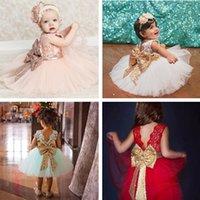 büyük dantel elbisesi toptan satış-4 Renkler Kızlar Elbise Dantel Kaşkorse Sequins Büyük Ilmek Kravat Kolsuz Bale Tutu Prenses Parti Bebek Etek 2-6 T