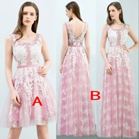 Wholesale Dusty Pink Tulle - Fairy Dusty Pink Lace Appliques Tulle Bridesmaid Dresses For Summer Country Weddings 2018 A Line Homecoming Dress Evening Gown CPS766 CPS767