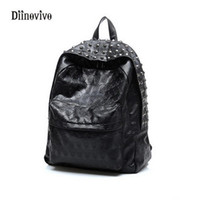 Wholesale backpack rock for sale - Group buy DIINOVIVO Fashion Luxury Leather Ladies Backpack Large Capacity Travel Bag Punk Style Youth Casual School Bag Knapsack WHDV0084