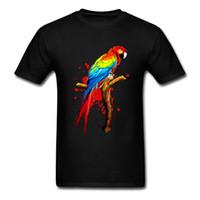 macaws papağanı toptan satış-Papağan Hayvan Amerika Papağanı Egzotik Kuş T-Shirt Rahat T Shirt erkek Kişilik Sarı Müzik tshirt ile Erkekler için kawaii O Boyun Tees