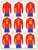 Wholesale Spain Long Sleeve - Customized Uniforms Kit 2018 World Cup Country Jersey Spain #7 MORATA #21 Silva #11 PEDRO #10 THIAGO Red Home 2017-18 Long Sleeve Jerseys