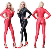 gece kulübü leotardları toptan satış-Seksi Siyah Kırmızı Deri kadın Tulum Kostüm fermuar Vinil PU Leotard Lateks Catsuit fermuar Kasık Gece Kulübü giymek
