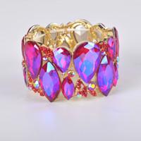 pulseras de big bangles al por mayor-La moda de Nueva marquesa brillante pulseras cristalinas de los brazaletes Cuff Estiramiento grande brazalete para la boda regalo de las mujeres joyería de la pulsera nupcial