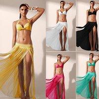 wickeln kleider für frauen großhandel-Frauen-Badebekleidung Bikini Beach Wear Cover Up Badeanzug Wickelrock Sarong Pareo Kleid