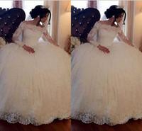 Wholesale off shoulder church wedding dress - Plus Size Ball Gown Wedding Dresses 2018 Vintage Long Sleeves Lace Appliques Sequins Puffy Arabic Dubai Formal Church Bridal Gowns