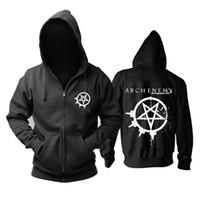 revestimento com zíper punk rock venda por atacado-23 tipos Suécia Arch Enemy Rock Zipper hoodies casaco de inverno punk morte sudadera heavy metal preto camisola Outerwear velo