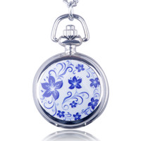 Wholesale xmas lights wholesale for sale for sale - Hot Sale Beautiful Light Flower Small Size white Steel Pocket Watch Pendant Necklace For Women Girl Xmas Gift