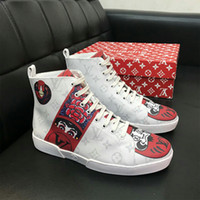 ab5f0dc0e232 Designer Luxury Brand Men Casual Shoes High Quality Leather Men High Top Shoes  Fashion Sneakers Breathable Hip Hop Shoes Mens Brand PU mater