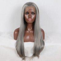 african american glueless peruklar toptan satış-Fantezi Güzellik 180% Platin Gümüş Gri Düz Sentetik Dantel Ön Peruk Afro-amerikan Için Tutkalsız Isıya Dayanıklı Saç