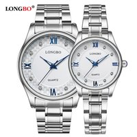 пара часов  оптовых-LONGBO 1 Pair Women Men Couple Watch  Quartz Stainless Steel Watches Fashion Casual Clock Wristwatches for Lovers 80147