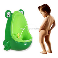 orinales de inodoro al por mayor-Montado en la pared Baby Potty Toilet Training Kids Orinal Niños Asiento de inodoro de plástico Alta calidad de dibujos animados rana Niños Toilet 4 colores C3441