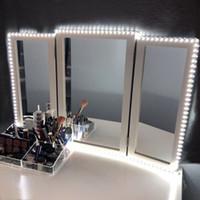 makyaj aynası ayna toptan satış-Led Vanity Ayna Işıkları LED Şerit Kiti 13ft / 4M 240 LEDs Makyaj Vanity Ayna Işık Dimmer ve Güç Kaynağı ile Vanity Makyaj Masa Seti