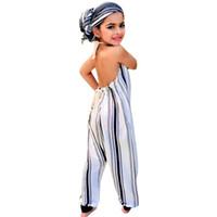 barboteuse bébé fille achat en gros de-Tenue de boutique pour jeune fille en bas âge Salopette rayée dos nu Halper Romper Jumpsuit Outfit Playsuit