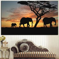 nackte afrikanische kunst großhandel-Leinwand Malerei Rahmen Wohnzimmer Wandkunst 1 Stück Baum Afrikanischen Elefanten Sonnenuntergang Landschaft Bild Home Decor HD Print Poster