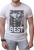 Wholesale george t shirt for sale - T shirt cotone fiammato Scollo ampio a taglio vivo GEORGE BEST leggenda manch
