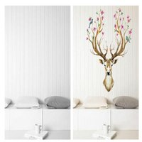 Wholesale deer vinyl wall - High Quality 3D Plum flower deer Wall Stickers For kids rooms living room bedroom Home Decor DIY Decor PVC Removable Waterproof