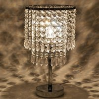 Wholesale Table Crystal Chandelier Wholesale - Chrome Round Crystal Chandelier Bedroom Nightstand Table Lamp LED Night Light Bedside Desk Lamps for Wedding Living Room Dining Room