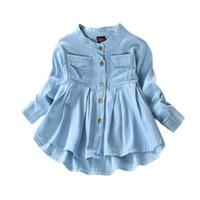 neues stoff für kinder großhandel-Neue Frühlingsmode Kinder Mädchen Demin Shirts Weiche Stoff Langarm Shirt Kinderkleidung