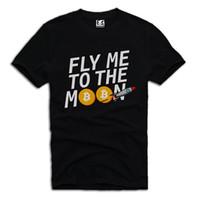 ingrosso blu trattino-E1SYNDICATE T SHIRT FLY MOON BITCOIN ETHEREUM DASH LITECOIN CRYPTO A475DTG estate vendita calda Tee Print T-Shirt