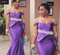 ingrosso abiti da sera viola neri-Sexy Purple Off Shoulder Mermaid Abiti da sera African Peplum Black Girl Arabia Saudita Partito Prom Dresses Abiti Robe De Soiree