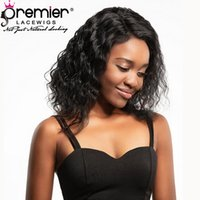 Wholesale medium haircut hairstyles for sale - Premier Lace Front Wigs Brazilian Remy Human Hair Bob Haircut Loose Curly Density Natural Hairline Preplucked With Baby Hair