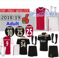 Wholesale fc uniforms - Top quality 2018 2019 Ajax FC home Soccer Jerseys uniforms 18 19 DOLBERG ZIYECH HUNTELAAR YOUNES MEN Ajax away Football jerseys shirt kit