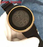 ver diamantes personalizados al por mayor-Lujo 44mm YA114207 reloj Mens Custom Digital Custom luminiscente correa de caucho electrónica reloj de oro rosa diamante reloj
