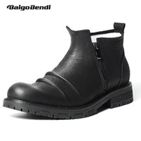 Wholesale trendy leather boots - Pure Black Genuine Leather Wrinkle Mens Boots Round Toe Litchi Grain Zip Ridding Boots Trendy Martin Winter Shoes