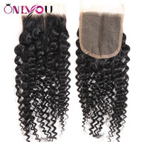 22 zoll spitzenverschluss groihandel-Brazilian Virgin Hair Extensions Kinky Curly 4x4 Middle Free Part Lace Closure Indian Peruvian Human Hair Kinky Curly Top Closure 10-22 inch